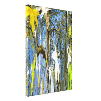 Leaves in seasons stretched canvas print