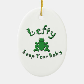 Lefty Leap Year Baby Ceramic Oval Decoration