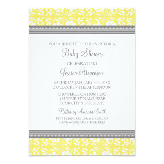 Lemon Gray Damask Custom Baby Shower Invitations