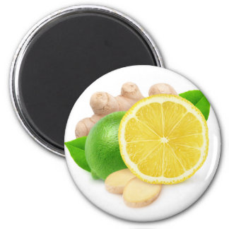Lemon, lime and ginger 6 cm round magnet
