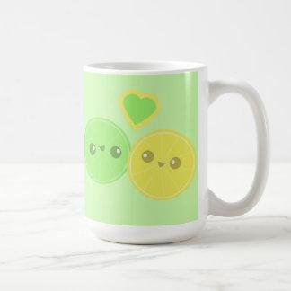 Lemon Lime Heart Kawaii mug