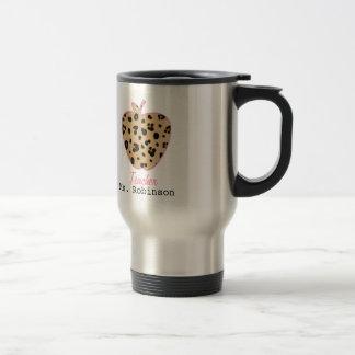 Leopard Print Apple Teacher Stainless Steel Travel Mug