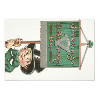 Leprechaun Banner Sign Harp Shamrock Photographic Print