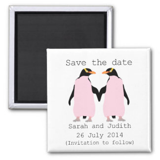 Lesbian, Penguins holding hands save the date Square Magnet