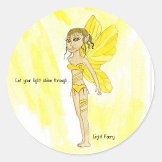 Let your light shine through...., Light Faery Round Sticker