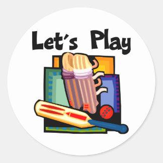 Let's Play Cricket Round Sticker