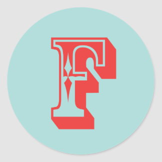 Letter F carnival style monogram initial favor Round Sticker