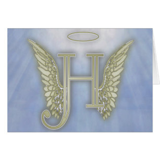 Letter H Angel Monogram Greeting Card