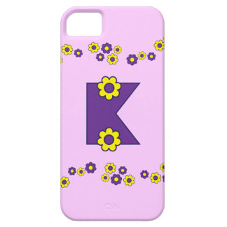 Letter K in Flores Purple Monogram Barely There iPhone 5 Case