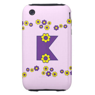 Letter K in Flores Purple Monogram Tough iPhone 3 Case