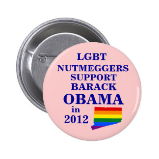 LGBT Nutmeggers Connecticut for Obama 2012 6 Cm Round Badge