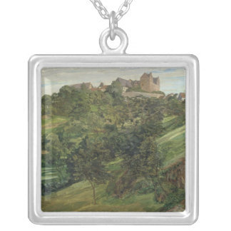 Lichtenberg Castle in Odenwald, 1900 Square Pendant Necklace
