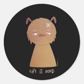 Life is Hard Puppy Round Sticker