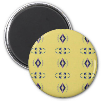 Light &Airy Yellow With Purple Diamond Shapes 6 Cm Round Magnet