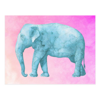 Light Blue Elephant on Dreamy Pink Watercolors Postcard