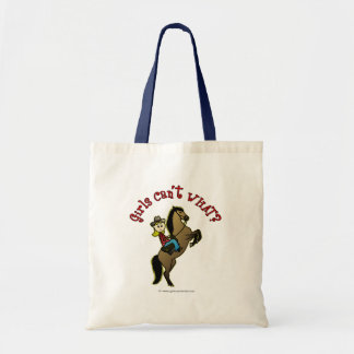 Light Cowgirl on Horse Budget Tote Bag