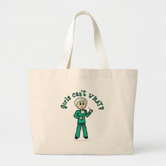 Light Female Surgeon in Green Scrubs Jumbo Tote Bag