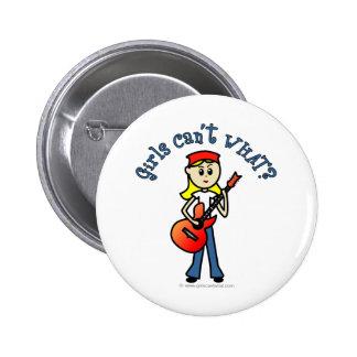 Light Girl Guitar Player 6 Cm Round Badge
