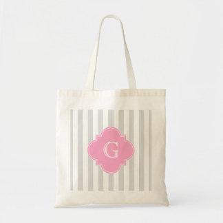 Light Gray White Stripes Pink Monogram Label Budget Tote Bag
