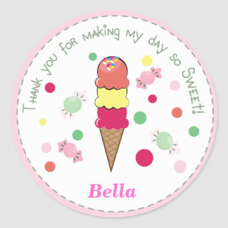 Light Pink Whimsical Ice Cream Party Cute Sticker