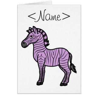 Light Purple Zebra with Black Stripes Greeting Card