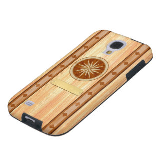 Light Wood Inlay Compass & Name Plate Phone Case