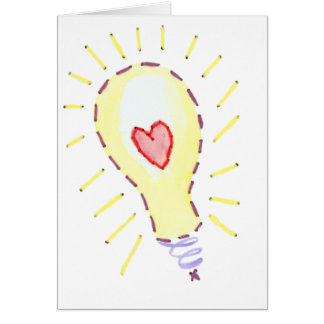 Lightbulb Bright Idea - Heart Greeting Card