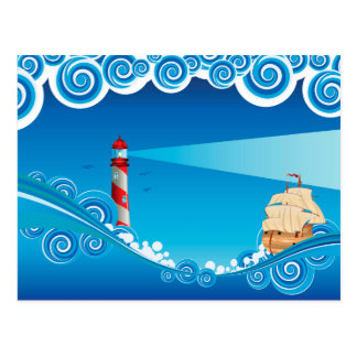Lighthouse and Boat in the Sea 6 Postcard