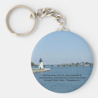 Lighthouse Philippians 4:7 Basic Round Button Key Ring