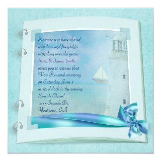 Lighthouse Vow Renewal Wedding Book 13 Cm X 13 Cm Square Invitation Card
