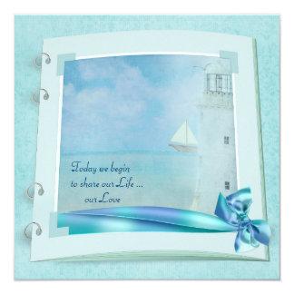 Lighthouse Wedding Book 13 Cm X 13 Cm Square Invitation Card
