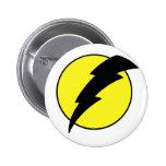 Lightning bolt retro look super hero logo 6 cm round badge