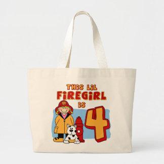 Lil Firegirl 4th Birthday Jumbo Tote Bag