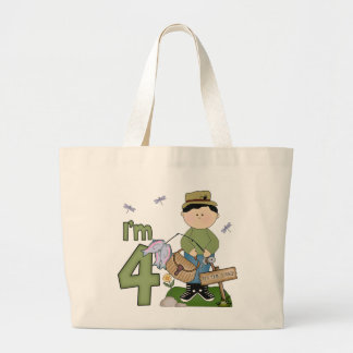Lil Fisherman 4th Birthday Jumbo Tote Bag