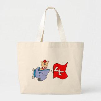 Lil Pilot Bear 4th Birthday Jumbo Tote Bag