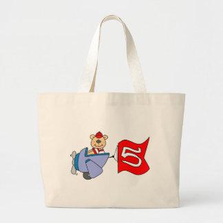 Lil Pilot Bear 5th Birthday Jumbo Tote Bag
