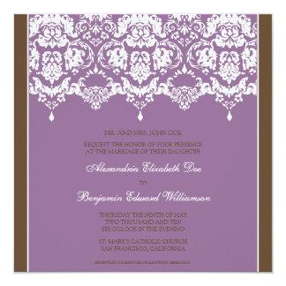 Lilac Darling Damask Square Wedding Invitation