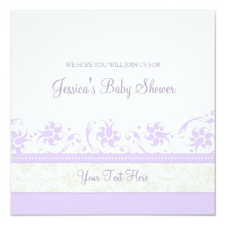Lilac White Floral Custom Baby Shower Invitations