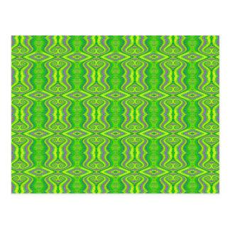 Lime Green 60's Retro Fractal Pattern Postcard