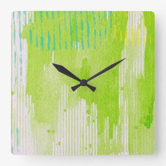 lime green abstract art clock