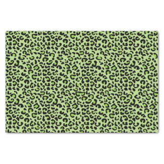 """Lime Green and Black Leopard Print 10"""" X 15"""" Tissue Paper"""