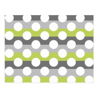 Lime Green Gray White Modern Polka Dot Pattern Postcard