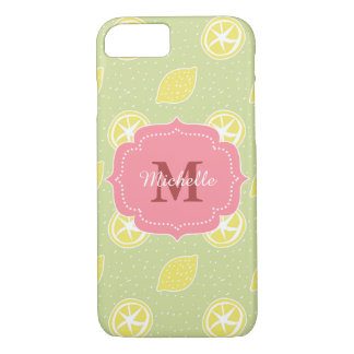 Lime Green Lemon Pattern iPhone 7 Case
