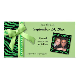 Lime Green Zebra Gems Save The Date Card Picture Card