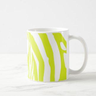 Lime green zebra print basic white mug