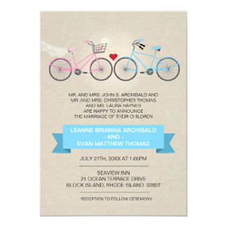 Linen Style Bicycle Wedding 13 Cm X 18 Cm Invitation Card