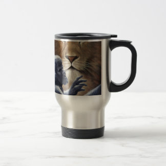 Lion and Statue Stainless Steel Travel Mug