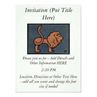 Lion - Antiquarian, Colorful Book Illustration 17 Cm X 22 Cm Invitation Card
