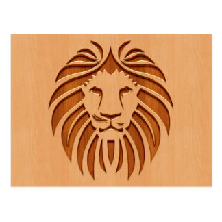 Lion head engraved on wood design postcard