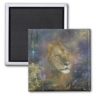 Lion King of Jungle Beasts Square Magnet